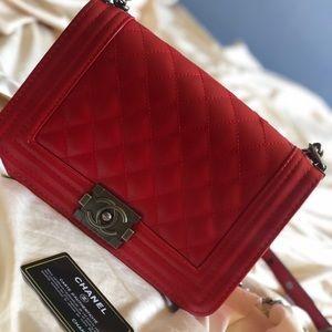 Chanel Boy Medium Red Caviar Leather Shoulder Bag